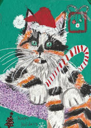 Christmas holiday acrylic watercolor cat painting by tulipteardrops