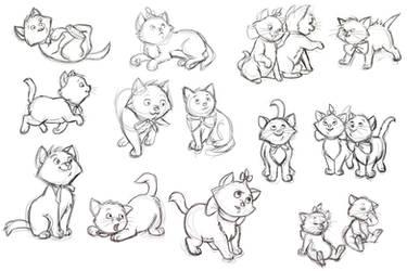 Disney study, the kittens of the Aristocats by AzaleasDolls