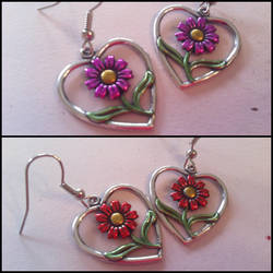 Hearts and Flowers earrings by TheOriginalAKTREZ