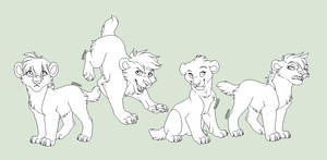 Saber-tooth cubs lineart by Lerynn