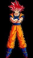 Goku (Super Saiyan God) by hirus4drawing