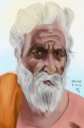 Old Man Semi Realistc Portrait by brusife