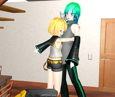 MMD Mikuo X Rin by Rachel-Gold-Eyes