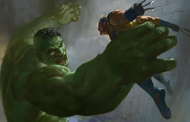 Hulk vs Wolverine by KangJason