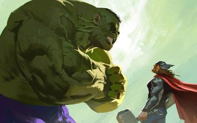 Hulk vs Thor by KangJason