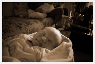Newborn smile by TheSkyEtc