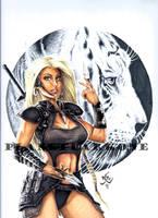 Queen Jatarri throwing blades by PlanetDarkOne