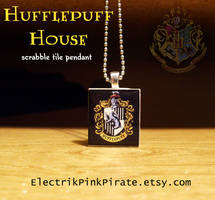 Hufflepuff scrabble pendant by ElectrikPinkPirate