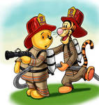 Tigger and Pooh Firefighters by zdrer456