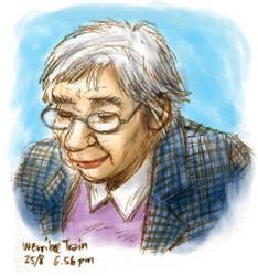 Old lady in train in colour by ultorgabrihel