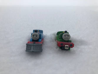 Thomas and Percy out in the snow by LUCADOLLAR