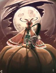 Pumpkin, Moth, and Moon by JBergen1910