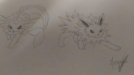 pokemon- aquali and voltali by morganefleurence