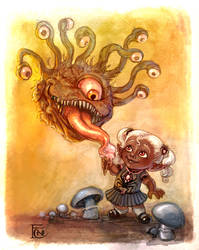 Beholder and Drow by feliciacano