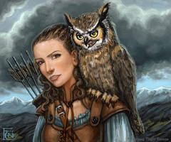 Horned Owl for Talisman by feliciacano