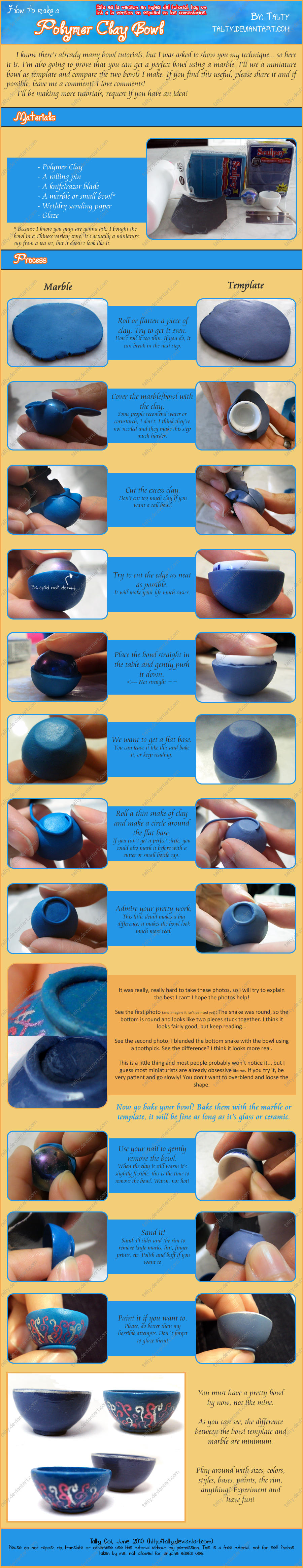 Polymer Clay Bowl Tutorial by Talty