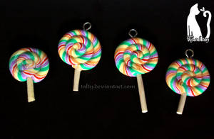 Polymer Clay Rainbow Lollipops by Talty