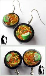 Mini Thai Ramen Bowls Earrings by Talty