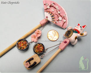 Polymer Clay and Bamboo Hair Chopsticks by Talty