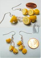 Polymer Clay Dangling Lemon Earrings by Talty