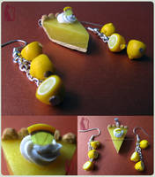 Polymer Clay Lemon Pie Earrings and Pendant by Talty
