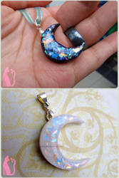 Black and White Faux Opal Moons Polymer Clay by Talty