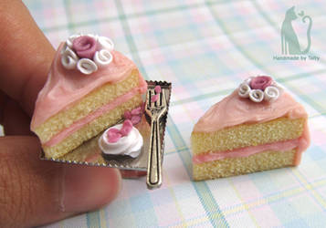 Polymer clay pink rose cake set by Talty