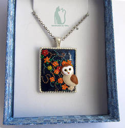 Polymer clay owl necklace by Talty by Talty