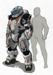 'Golem' Hardsuit- sketch by Tekka-Croe