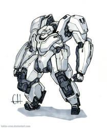Inktober Day 18 (Yeti Exo-Suit) by Tekka-Croe