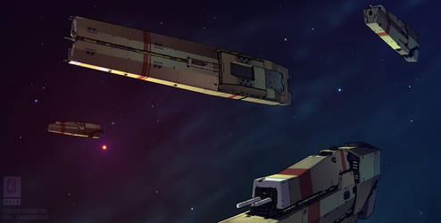 Saldean Heavy Cruiser and Escort by Tekka-Croe