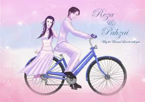 girl, man n a bicycle by Engraver78