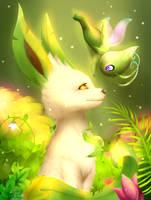 Leafeon and Celebi by Alexxxa4