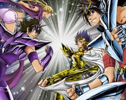 Manigoldo, Tenma, Yato et Yuzu by Niiii-Link