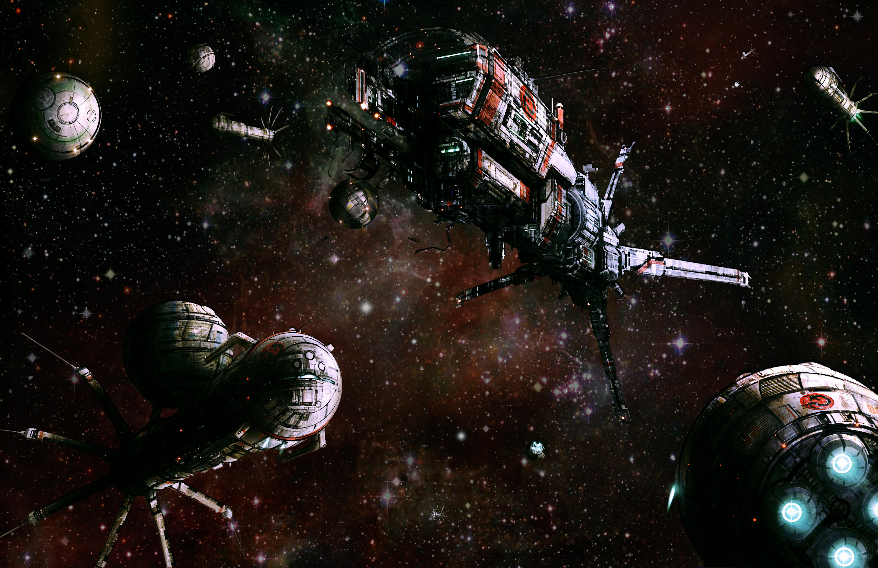 Jumpships and dropships around a station by flyingdebris