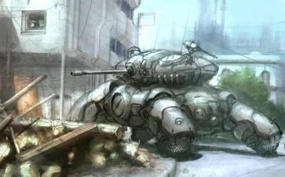 Tank in street by flyingdebris
