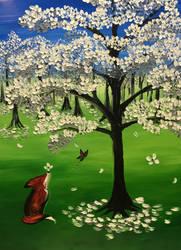 Fox in Spring Dogwood for Eric by Raggedyari