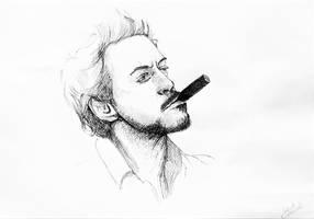 Ballpoint Pen : Robert Downey Jr. by JakubQaazAdamski