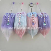 Pastel Mini Fox Tail Charm Commissions Open by CatNapCaps