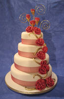 Red fabric rose cake by Dragonsanddaffodils