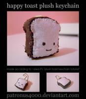 Happy Toast Plush Keychain by patronus4000