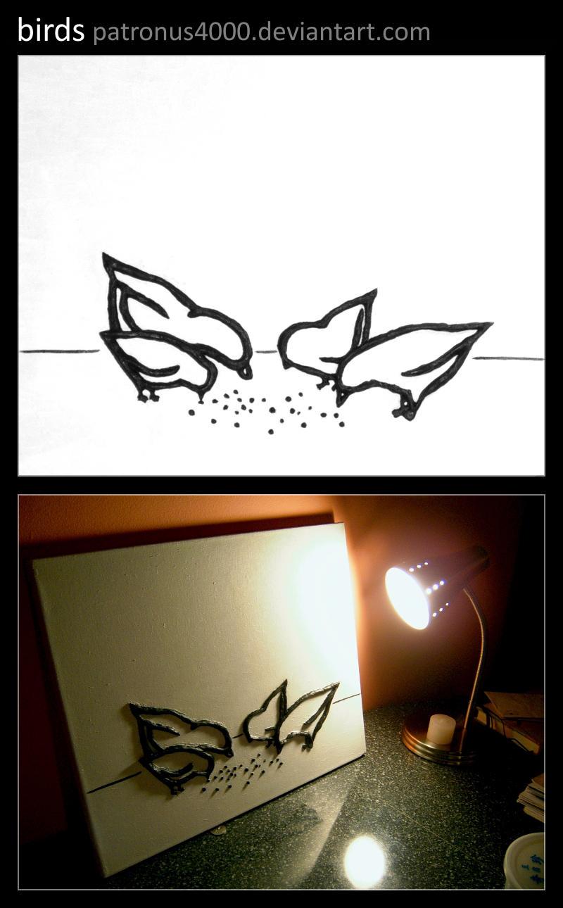 birds -sculpture on canvas- by patronus4000