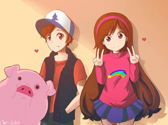 Gravity falls: Mabel, dipper and Waddles by HerrdesChaos