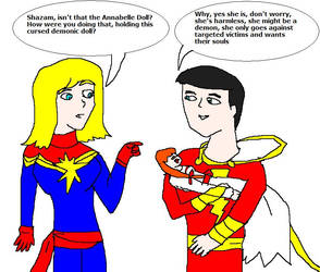 Captain Marvel couple and Annabelle Doll by Dinzydragon