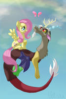 Fluttershy and Discord by Veliska
