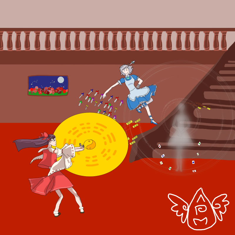 Hakurei Reimu VS Izayoi Sakuya at Scarlet Mansion by BlackMageVini