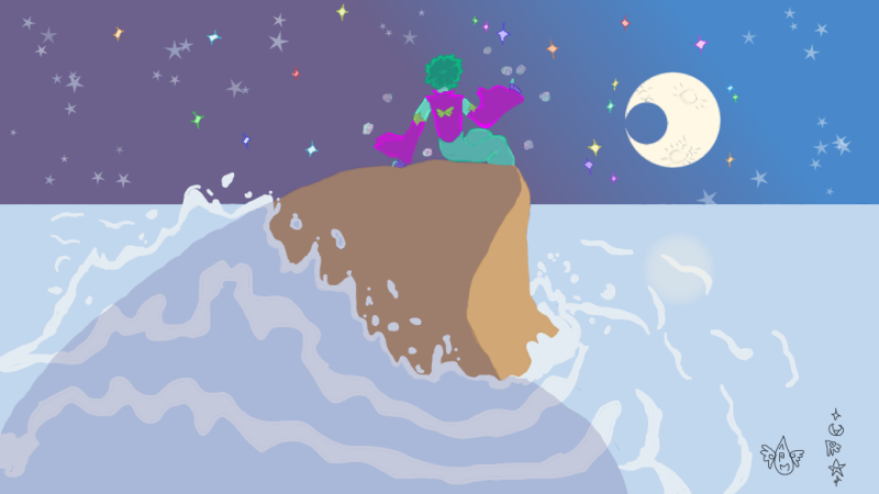 Moonstone Watching the Moon by the Sea by BlackMageVini