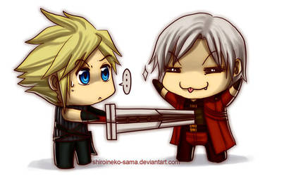 DMC+FF7:Chibis Cloud vs Dante by ShiroiNeko-sama