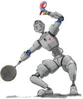 Robot tennis player by Glaubart