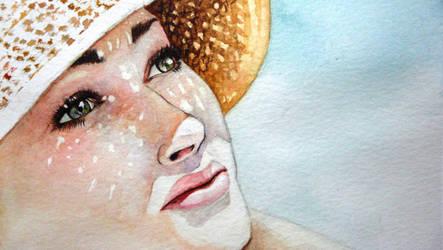 Human white skin study - Watercolor by Glaubart